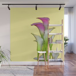 PURPLE & WHITE CALLA LILIES FLORAL YELLOW ART Wall Mural