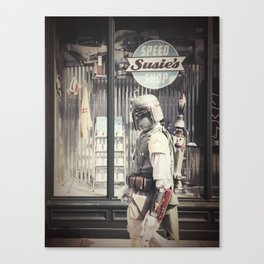 Boba Fett at Susie's Speed Shop Canvas Print