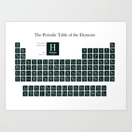 Periodic Table of Elements - Forest Green Art Print