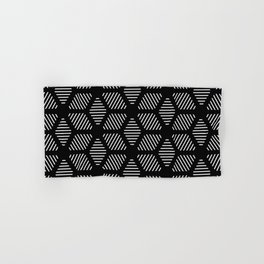 Geometric Line Lines Diamond Shape Tribal Ethnic Pattern Simple Simplistic Minimal Black and White Hand & Bath Towel