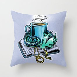 Snuggly dragon and a coffee cup Throw Pillow