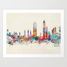 Barcelona watercolor skyline Art Print