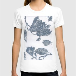 grey magnolias: linocut T-shirt