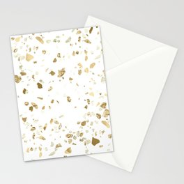 Metallic Gold Terrazzo Sparkle Stationery Cards
