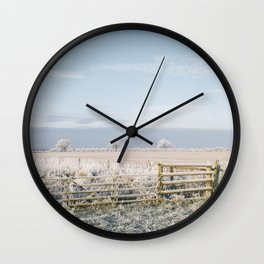 Rural scene covered in a thick hoar frost. Norfolk, UK. Wall Clock