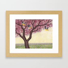 spring goldfinches Framed Art Print
