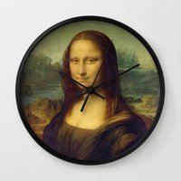 mona lisa Wall Clocks featuring Mona Lisa by Leonardo da Vinci by Palazzo Art Gallery