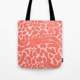 King Cheetah Print in Neon Coral + Blush Pink Tote Bag