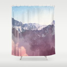 Glitched Mountains Shower Curtain
