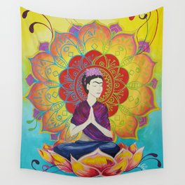 Frida Transcending Mandala and Lotus Blossom Wall Tapestry