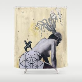 Resurgence - Mixed Media Abstract Collage Art Octopus Seed of Life Nude Shower Curtain