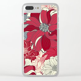 Dahlia pattern in cherry-red and grey Clear iPhone Case