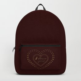 Royal Gold Burgundy I love You Typography Backpack