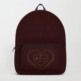 Royal Gold Burgundy I love You Typography Backpack