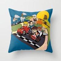 mario kart Throw Pillows featuring Super Fighting Kart by Legendary Phoenix