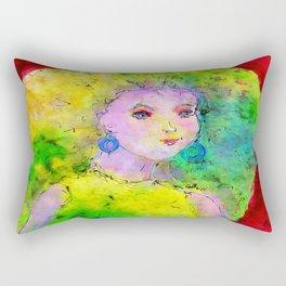 Green Hair Don't Care Rectangular Pillow