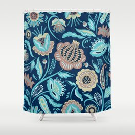 Colorful folk flowers blue background Shower Curtain