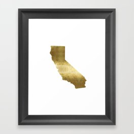 california gold foil state map  Framed Art Print