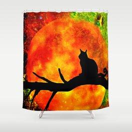 BLACK CAT HARVEST MOON 2018 Shower Curtain