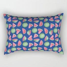 Watermelon Pattern, Blue Background Rectangular Pillow