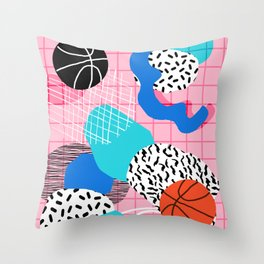 Hot Hand - memphis retro throwback neon grid pattern minimal modern pop art basketball sports Throw Pillow