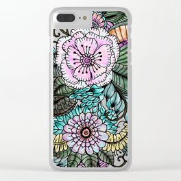 Hand painted pink teal lavender green watercolor floral Clear iPhone Case