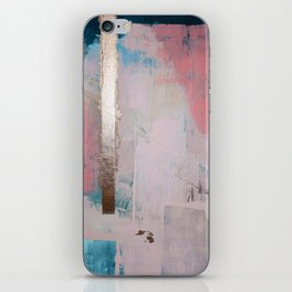 Morning Light: a minimal abstract mixed-media piece in pink gold and blue by Alyssa Hamilton Art iPhone Skin