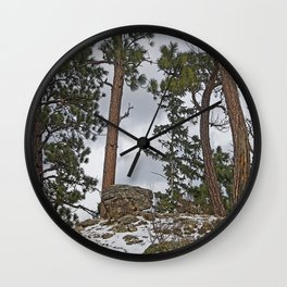 PINES ON ROCKY SNOW Wall Clock