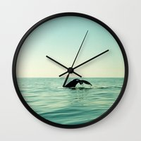 the whale Wall Clocks featuring Whale by Julia Aufschnaiter
