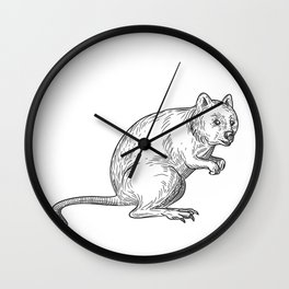 Quokka Drawing Black and White Wall Clock