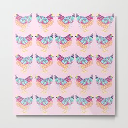 Pretty Pink Colorful Chickens Metal Print
