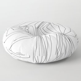 Confinement   Black Ink on White Geometric Drawing Floor Pillow