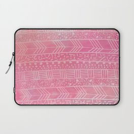 Geometrical girly pink watercolor abstract tribal Laptop Sleeve