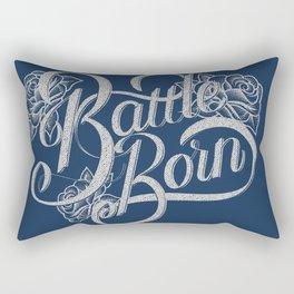 Battle Born - Silver & Blue Rectangular Pillow