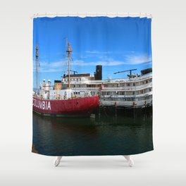 Riverboat Legacy and Fireship Columbia on Columbia River Shower Curtain