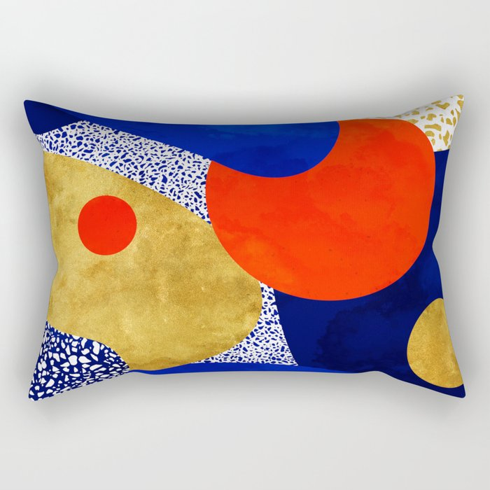 Terrazzo galaxy blue night yellow gold orange Rectangular Pillow by
