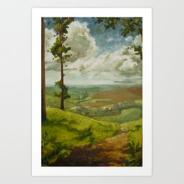 Impressionist Landscape Painting Peaceful Green Nature Countryside Sky Relaxing Art Print