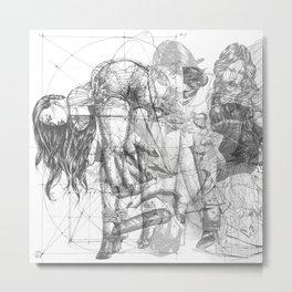 SOLVE ET COAGULA. New Composition. Ladies. Damascus. Triptych. Part 1. Illustration. INK ART. Yury F Metal Print