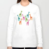 giraffes Long Sleeve T-shirts featuring Giraffes by ts55