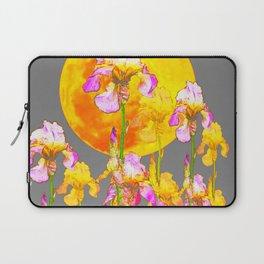IRIS GARDEN & RISING GOLD MOON  IN GREY SKY Laptop Sleeve