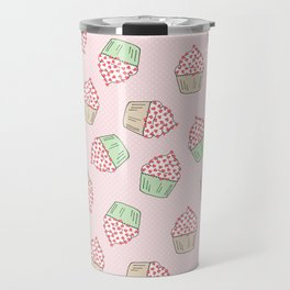 Cupcakes - Pink and Mint Doodle Pattern Travel Mug