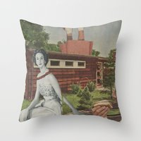 hot dog Throw Pillows featuring Hot Dog by Jon Duci