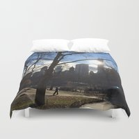 central park Duvet Covers featuring Central Park by Genevieve Moye