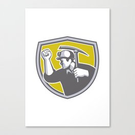 Coal Miner Clenched Fist Pick Axe Shield Retro Canvas Print