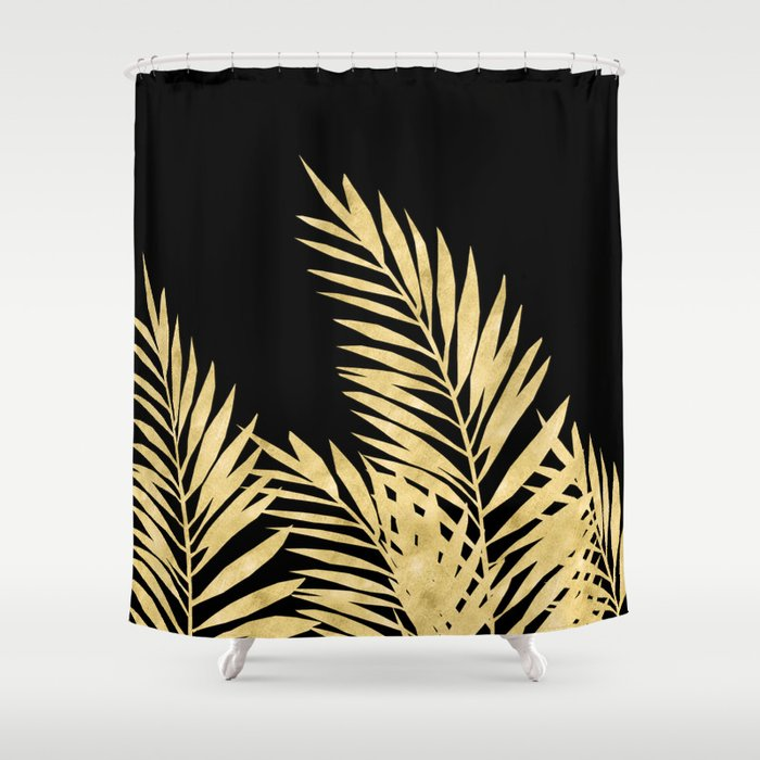 Palm Leaves Golden On Black Shower Curtain by lavieclaire | Society6
