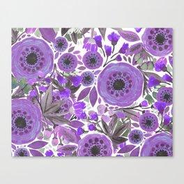 Water Color Flowers Purple Canvas Print