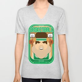 Basketball Green - Court Dunkdribbler - Bob version Unisex V-Neck