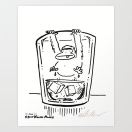Ape Climbs out of the Whiskey Glass Art Print