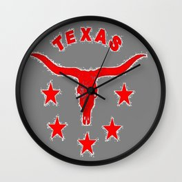 Western Red & White Texas Longhorn Logo GreyPattern Art Wall Clock