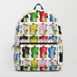 Maneki neko right paws with gold coin pattern Backpack